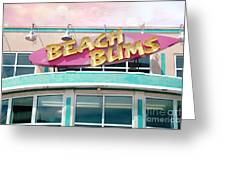 Summer Cottage Beach Bums Myrtle Beach Art Deco Sign Greeting Card