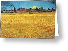 Summer Evening Wheat Field At Sunset Greeting Card
