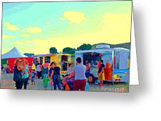 Summer Family Fun Paintings Of Food Truck Art Roadside Eateries Dad Mom And Little Boy Cspandau Greeting Card