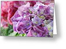 Summer Hydrangeas With Painted Effect Greeting Card