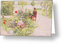 Summer In Sundborn Greeting Card by Carl Larsson