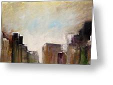Summer In The City Abstract Geometric Original Painting On Canvas Greeting Card