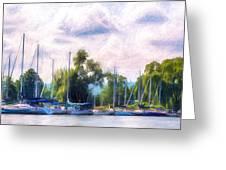 Summer Morning At Johnson's Boatyard Greeting Card