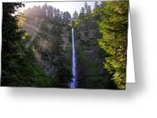 Summer Morning Rays At Multnomah Falls Oregon  Greeting Card