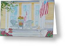 print Summer Porch and Flag for sale Greeting Card