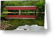 Summer Reflections At West Cornwall Covered Bridge Greeting Card by Thomas Schoeller