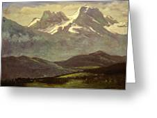 Summer Snow On The Peaks Or Snow Capped Mountains Greeting Card