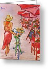 Summer Stroll By A Cafe Greeting Card