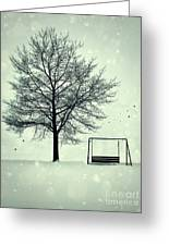 Summer Swing Abandoned In Snow Beside Tree Greeting Card