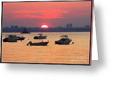 Late Summer Sunset Over The Bay Greeting Card