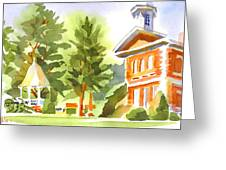 Summers Morning On The Courthouse Square Greeting Card