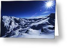 Summit Of The Italian Alps In Winter Greeting Card