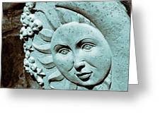 Sun And Crescent Moon Duotone Sculpture Greeting Card