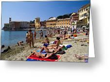 Sun Bathers In Sestri Levante In The Italian Riviera In Liguria Italy Greeting Card by David Smith