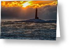 Sun Climbing Over Thacher Island Lighthouse Greeting Card