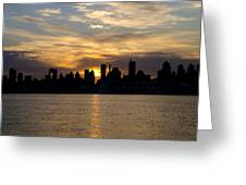 Sun Comes Up On New York City Greeting Card