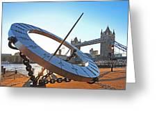 Sun Dial And Tower Bridge London Greeting Card