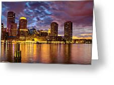 Sun Dusk Over Boston Harbor Greeting Card
