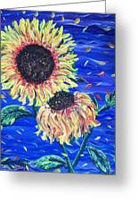 Sun Flowers And Wind Greeting Card