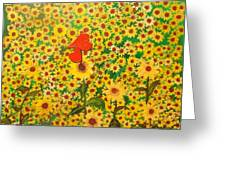 Sun Flowers Field With Two Hearts Forever Connected By Love Greeting Card