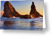 Sun Kissed Sea Stacks Greeting Card