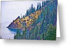 Sun Notch On A Rainy Day At Crater Lake National Park-oregon Greeting Card