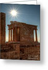Sun Over Athena Nike Temple Greeting Card by Deborah Smolinske