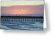 Sun Over Crowed Pier Greeting Card