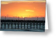 Sun In Clouds Over Pier Greeting Card
