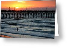 Sun Over Pier And Bird In Surf Greeting Card