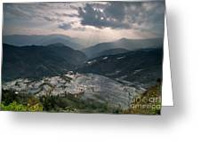 Sun Ray Over Rice Terrace Filed Greeting Card