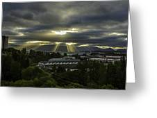 Sun Rays Over The City Greeting Card