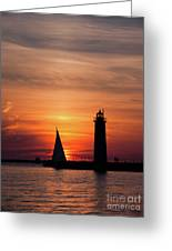 Sun Set At The Muskegon Lighthouse Greeting Card
