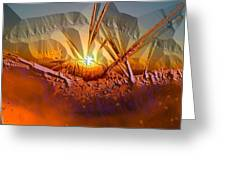 Sun Set Greeting Card by Vagik Iskandar