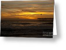 Sun Setting Behind Santa Cruz With Ventura Pier 01-10-2010 Greeting Card