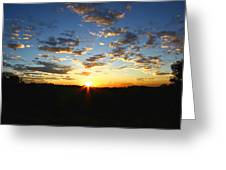 Sun Setting Behind The Mountains Greeting Card