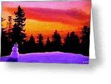 Sun Setting On Snow Greeting Card by Sophia Schmierer