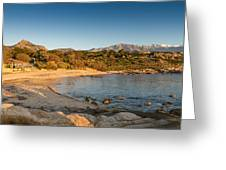 Sun Setting On The Beach At Arinella Plage In Corsica Greeting Card
