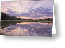 Sun Setting Over Pond Greeting Card by Bonnie Barry