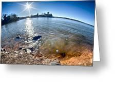 Sun Shining Over Lake Wylie In North Carolina Greeting Card