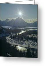 1m9313-sunburst Over Grand Teton, Wy Greeting Card