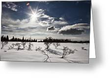 Sunburst With Snow Greeting Card