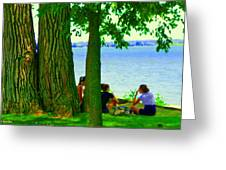 Sunday Picnic On The Lake Maple Trees At The Canal Pte Claire Montreal Waterscene Carole Spandau Greeting Card