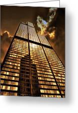 Sundown At Willis Sears Tower Greeting Card