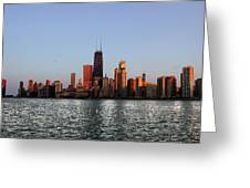 Sundown In The Chicago Canyons Greeting Card