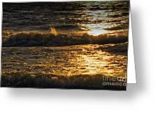 Sundown On The Waves Greeting Card