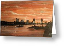 Sundown Over Tower Bridge London Greeting Card