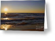 Sundown Scintillate On The Waves Greeting Card