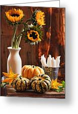 Sunflower And Gourds Still Life Greeting Card