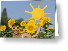 Sunflower And Sun Greeting Card